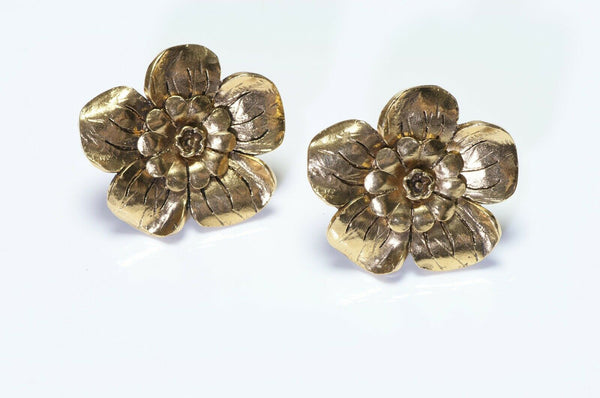 Vintage CHANEL Paris Camellia Flower Earrings