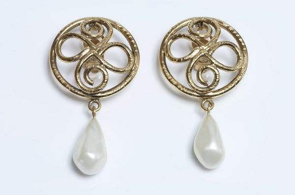 Vintage CHANEL Paris Long Pearl Drop Earrings