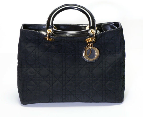 Vintage Christian Dior Lady Dior Black Nylon Leather Quilted Women's Bag
