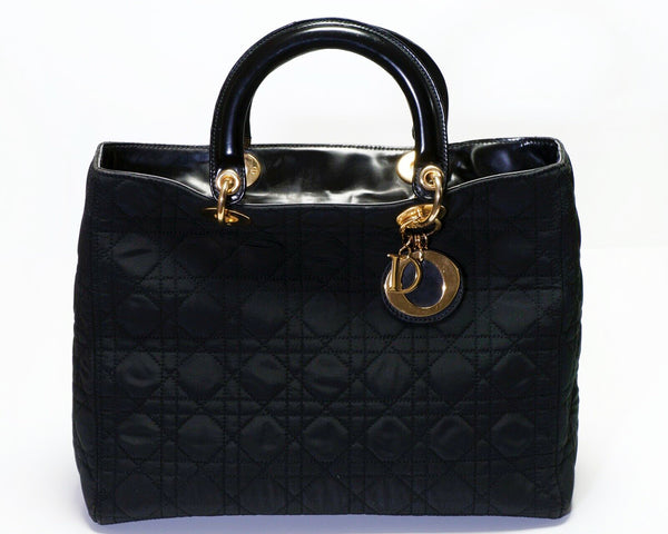 Christian Dior Lady Dior Nylon Leather Quilted Women's Bag