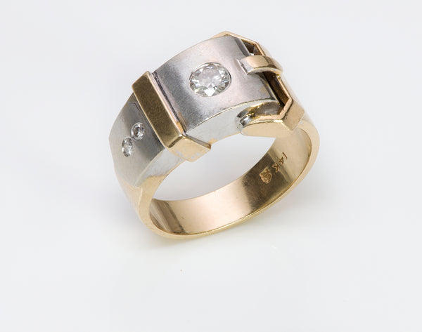 Vintage Gold Platinum Diamond Buckle Ring