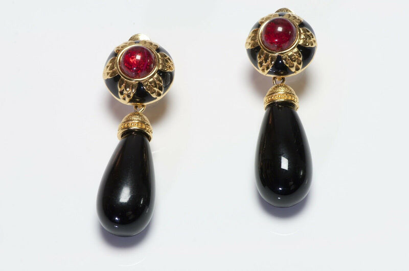 Vintage FENDI Black Enamel Red Glass Drop Earrings