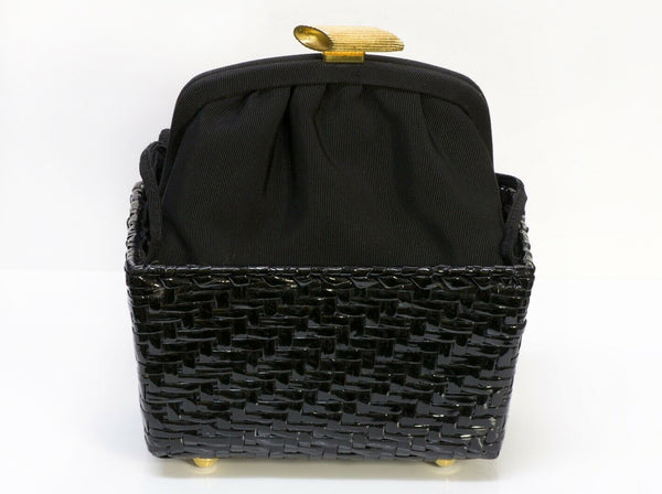 Vintage FENDI Pasta Style Black Satin Lacquered Basket Double Handle Mini Bag
