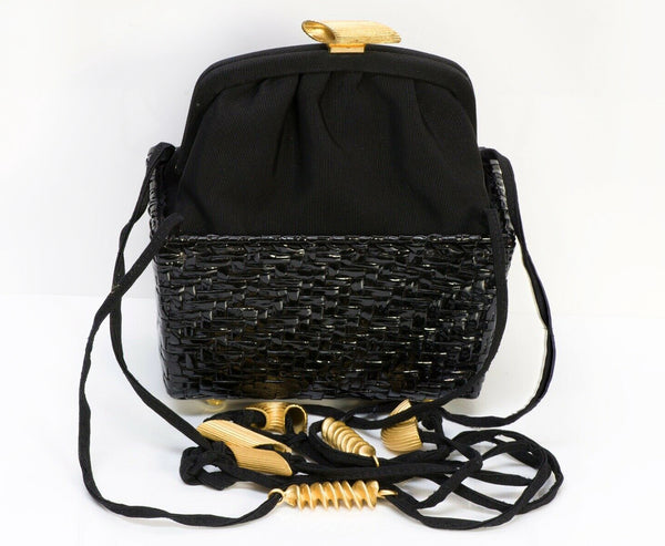 FENDI Pasta Style Black Satin Lacquered Basket Double Handle Mini Bag