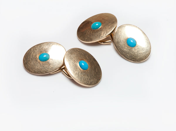 Antique Cufflinks Gold Turquoise Cufflinks
