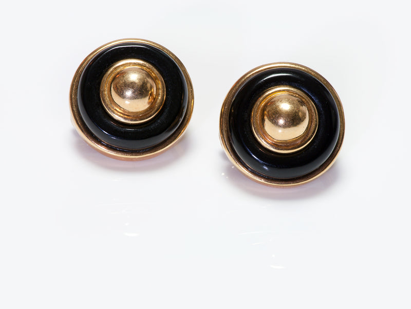Tiffany & Co. Onyx 18K Gold Button Dome Clip Earrings