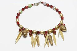 Vintage Yves Saint Laurent Red Beads Corn Acorn Wheat Charm Necklace