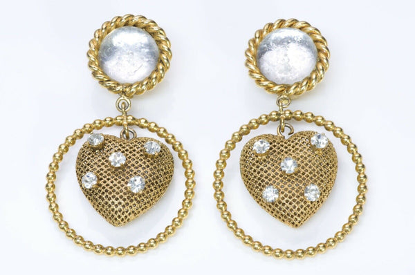 Vintage 1980's French Glass Crystal Heart Hoop Earrings
