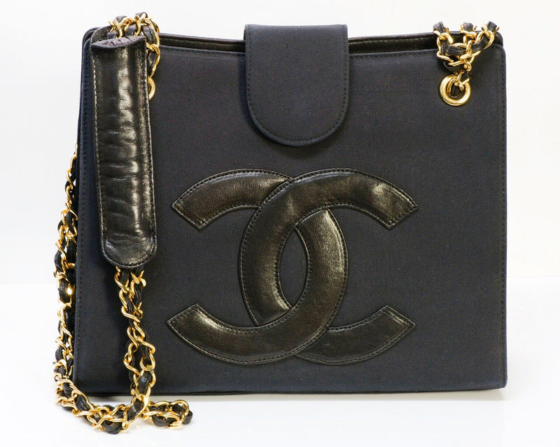 CHANEL CC Black Fabric Leather Chain Shoulder Bag