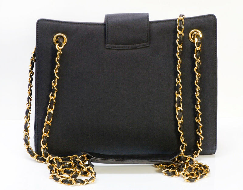 Vintage CHANEL CC Fabric Leather Chain Shoulder Bag 2