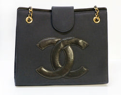 Vintage CHANEL CC Black Fabric Leather Chain Shoulder Bag