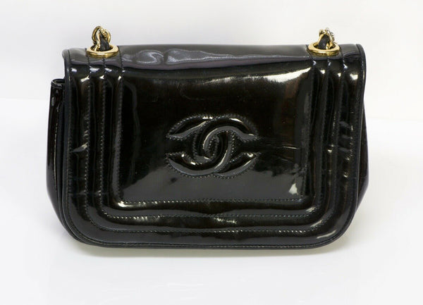 Vintage CHANEL CC Patent Leather Mini Crossbody Bag