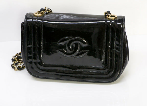 Vintage CHANEL CC Black Patent Leather Mini Crossbody Bag