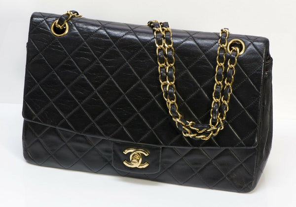 Vintage CHANEL CC Black Quilted Leather Medium Flap Bag