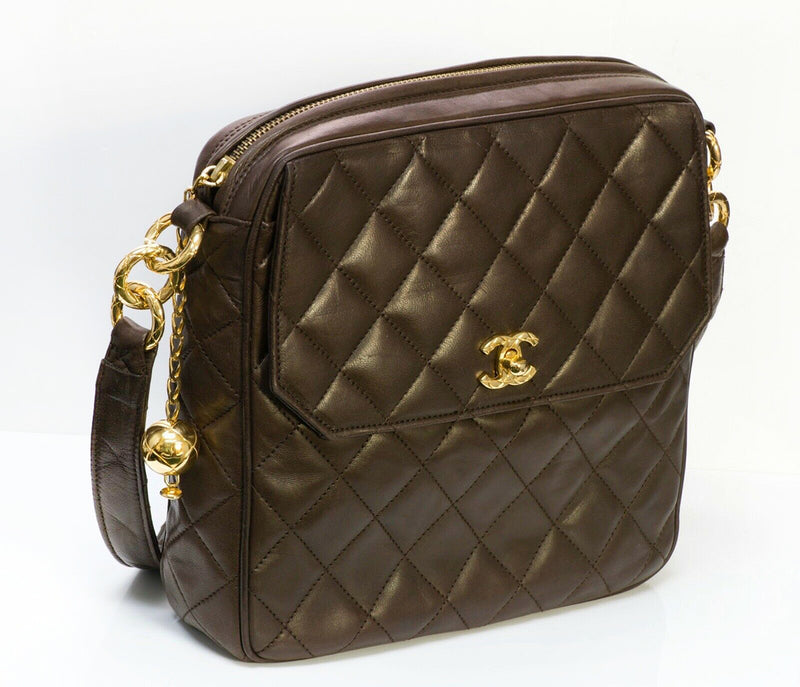Vintage CHANEL CC Quilted Leather Crossbody Bag