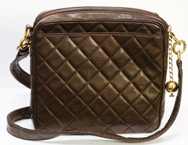 CHANEL CC Brown Quilted Leather Crossbody Bag