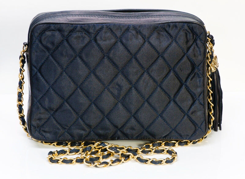 CHANEL Nylon Quilted Leather Crossbody Bag