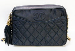 Vintage CHANEL CC Navy Blue Nylon Quilted Leather Crossbody Bag