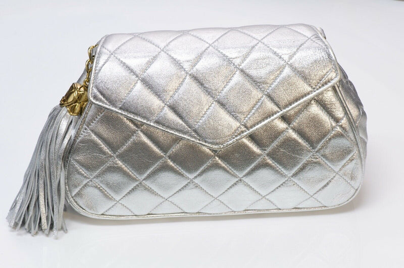 CHANEL CC Silver Metallic Quilted Leather Tassel Chain Bag 2