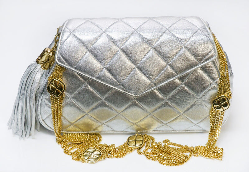CHANEL CC Silver Metallic Quilted Leather Tassel Chain Bag