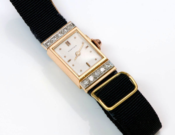 Vintage Cartier Diamond 18K Yellow Gold Ladies Watch