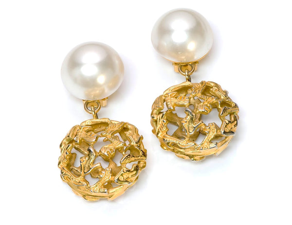 Vintage Salvatore Ferragamo Gold Tone Pearl Earrings