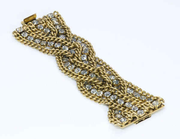 Vintage French Woven Crystal Chain Bracelet