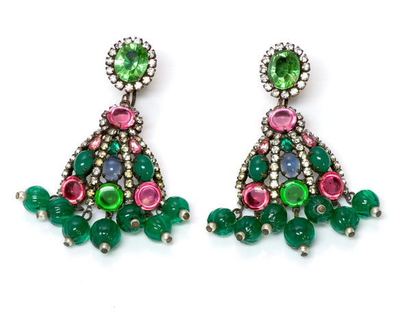 Kenneth Jay Lane KJL 1960's Mughal Style Glass Earrings