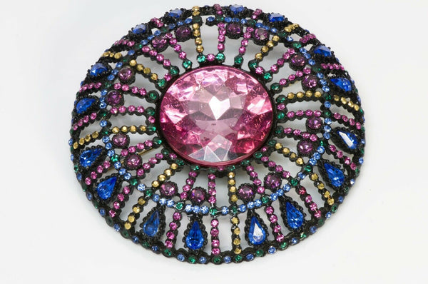 Vintage Large Pink Blue Green Crystal Round Brooch