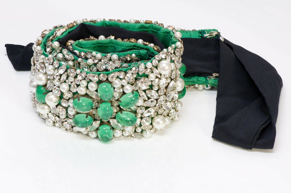 Vintage Maison GRIPOIX Wide Beaded Green Glass Pearl Crystal Satin Belt