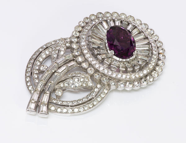 Trifari Alfred Philippe Purple Crystal Flower Brooch