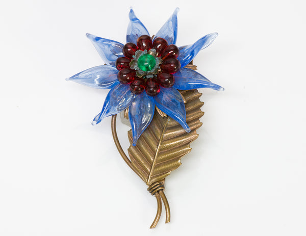 Louis Rousselet 1940 Blue Poured Glass Flower Brooch