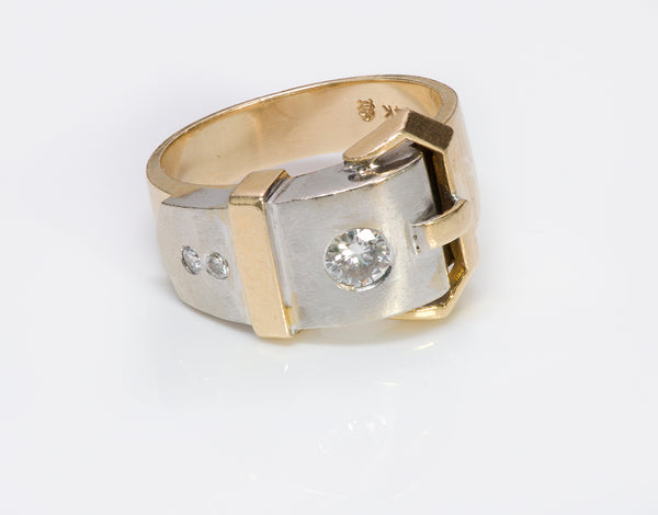 Vintage Gold Diamond Buckle Men's Ring