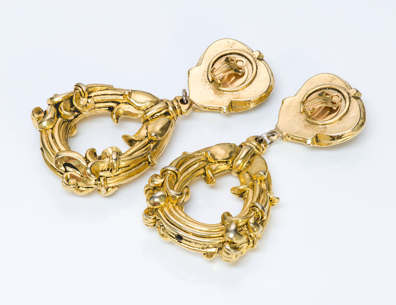 Jacky de G 1980 Gold Tone Baroque Style Earrings