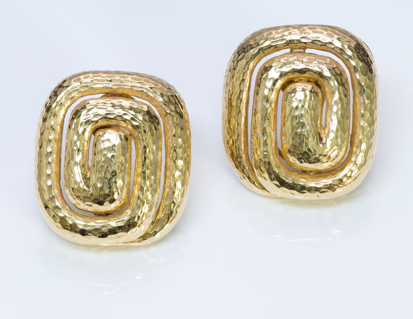 David Webb Hammered 18K Gold Earrings