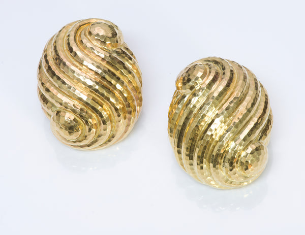 David Webb Hammered 18K Yellow Gold Earrings