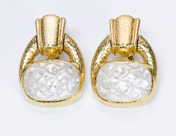 David Webb 18K Yellow Gold Crystal Earrings