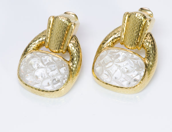 David Webb 18K Gold Crystal Earrings