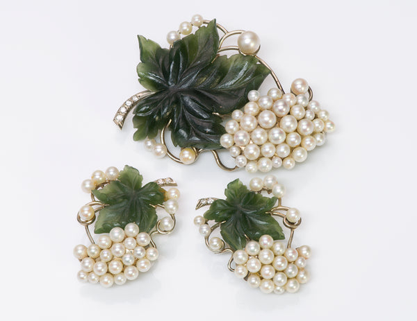 Wedderien Jade Pearl Diamond Earrings Brooch