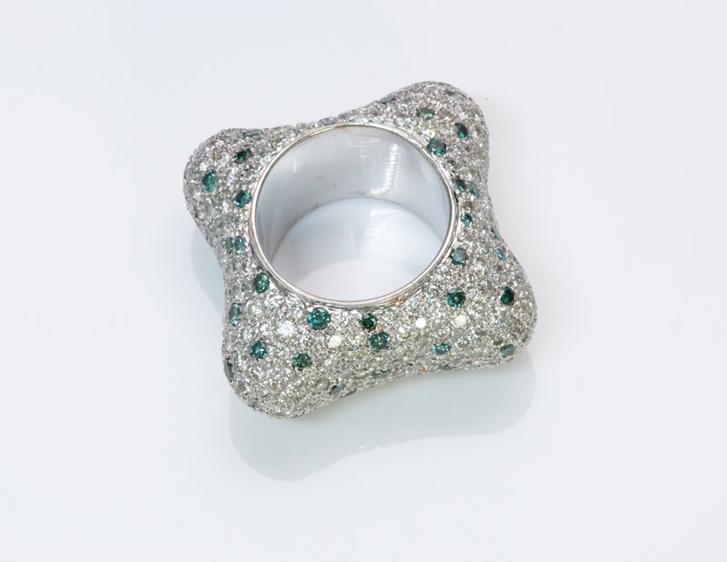 Fancy Pave Diamond White Gold Ring