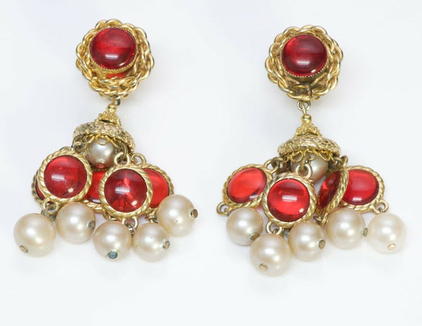 William De Lillo 1960's Red Glass Pearl Chandelier Earrings