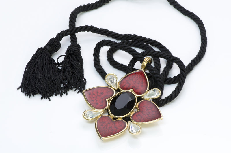 Yves Saint Laurent Enamel Heart Necklace