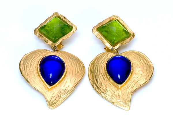 Yves Saint Laurent Rive Gauche Goossens Glass Heart Earrings
