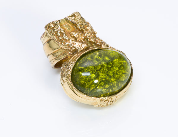 Yves Saint Laurent YSL Green Glass Arty Ring