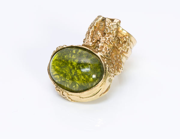 Yves Saint Laurent YSL Green Glass Arty Ring2