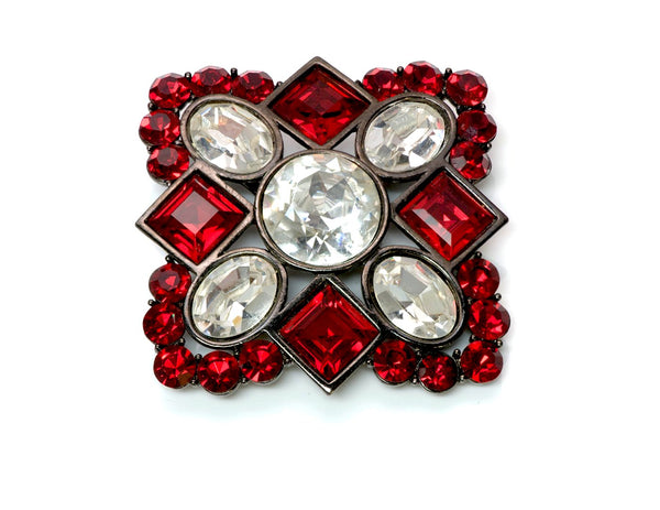 Yves Saint Laurent YSL Red Crystal Pendant Brooch