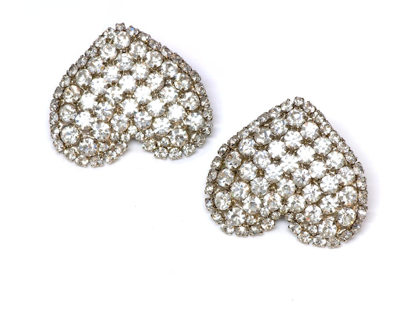 Yves Saint Laurent YSL 1970's Rive Gauche Heart Crystal Earrings 1