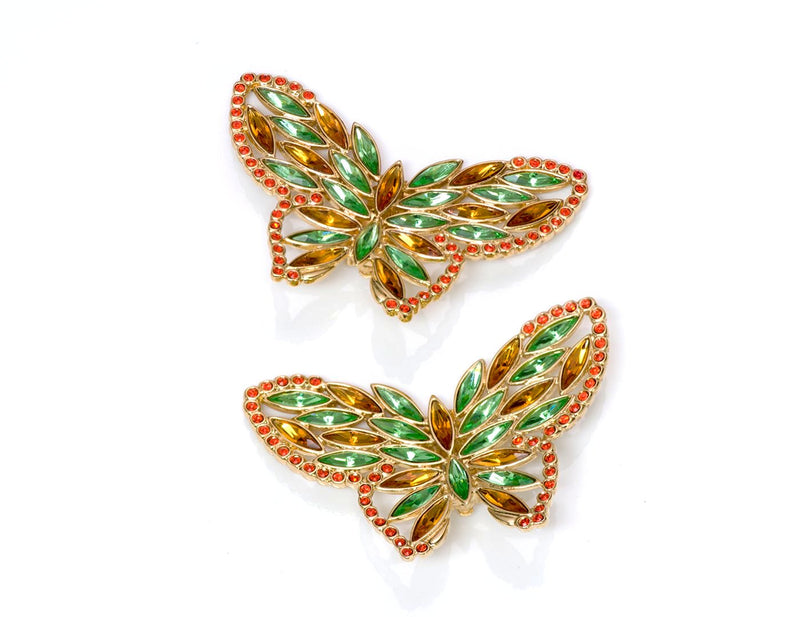 Vintage Yves Saint Laurent YSL Crystal Butterfly Earrings 1