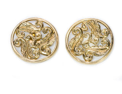 Yves Saint Laurent YSL Gold Tone Round Earrings