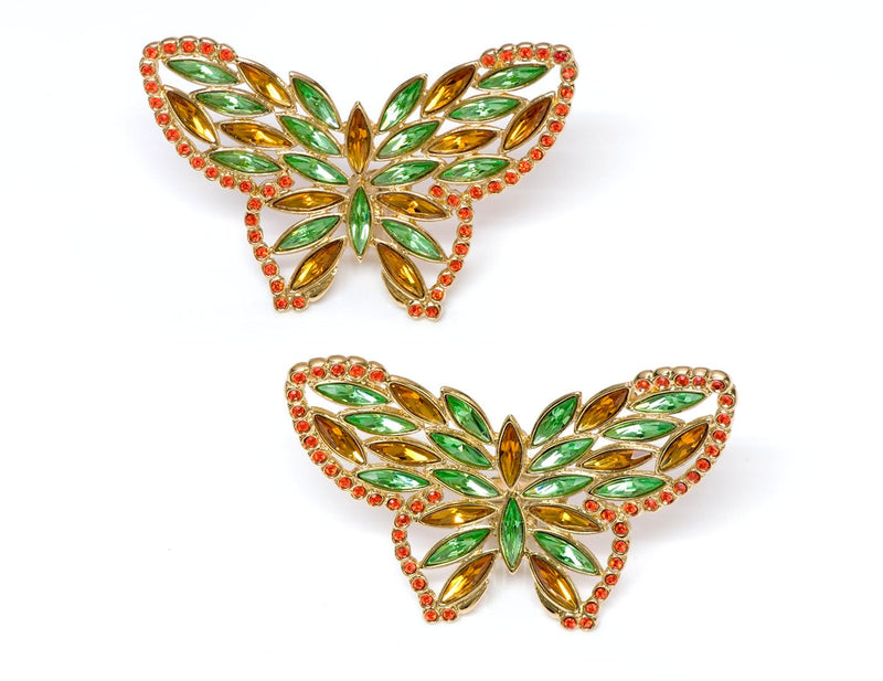 Vintage Yves Saint Laurent YSL Crystal Butterfly Earrings